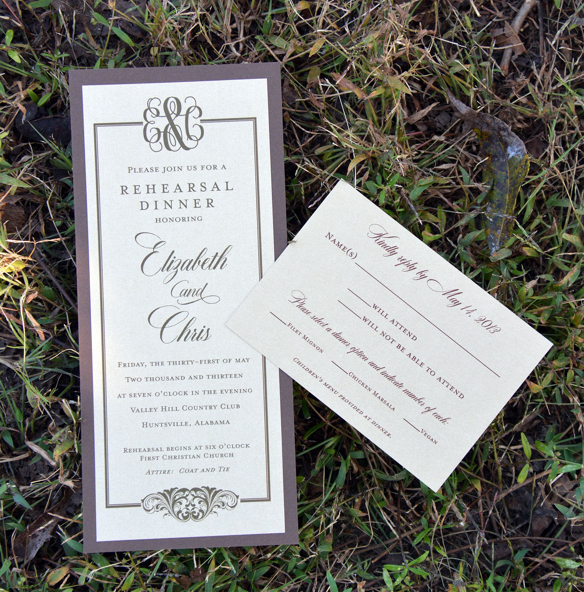 Rehearsal Dinner Invitation Response Card From Wiregrass Weddings