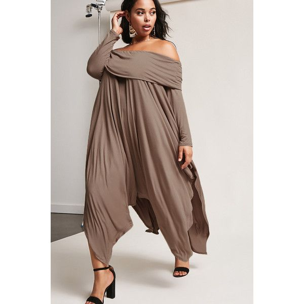 Forever21 Plus Size f the Shoulder Draped Dress $38 ❤ liked on