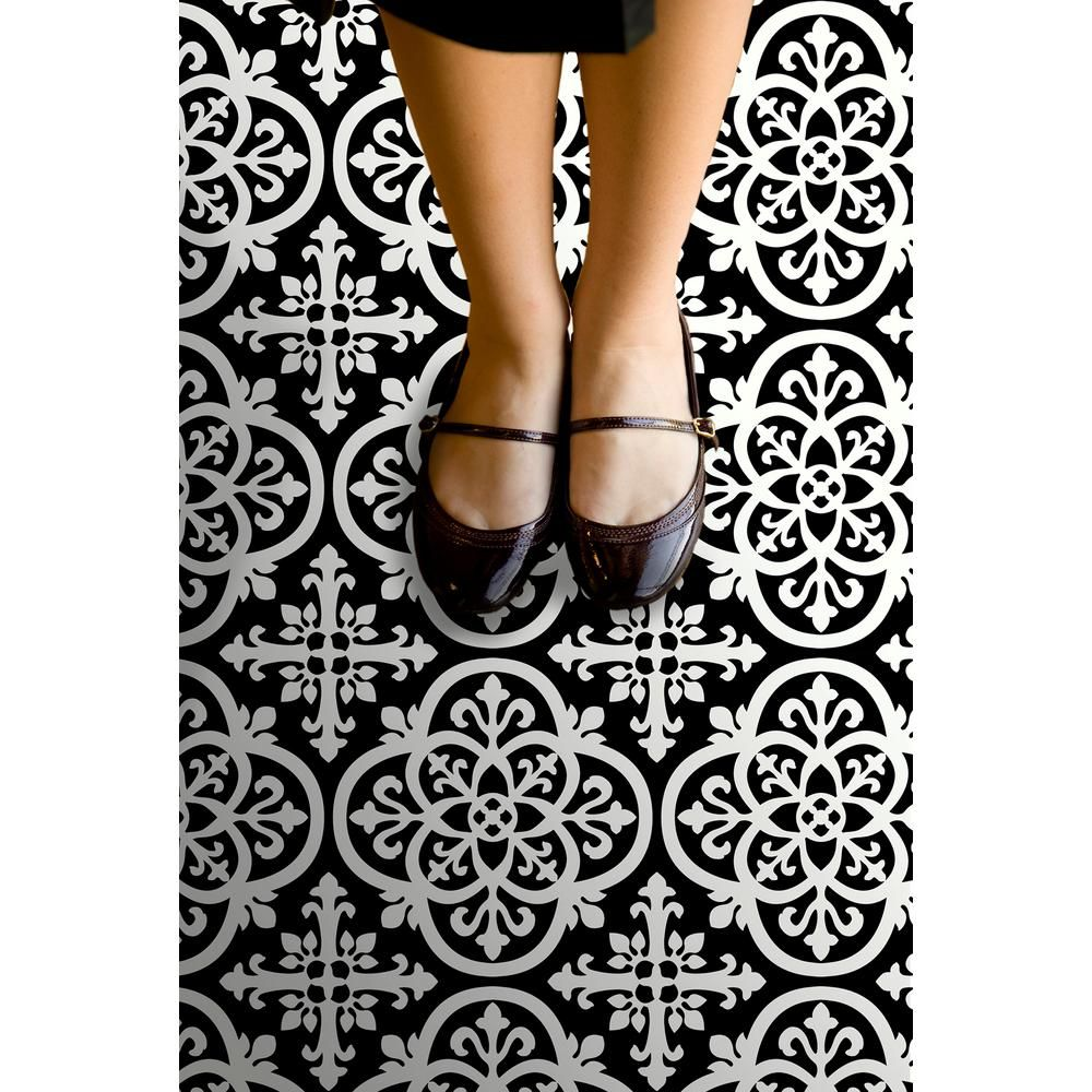 A Matte Black Kitchen Makes A Bold Statement In This: FloorPops Gothic Peel And Stick Floor Tiles 12 In. X 12 In