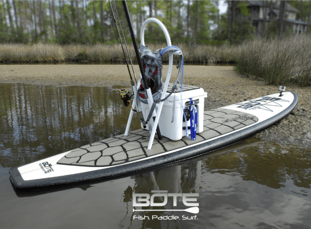 Paddle board accessories for fishing on a sup paddle for Fishing paddle boats