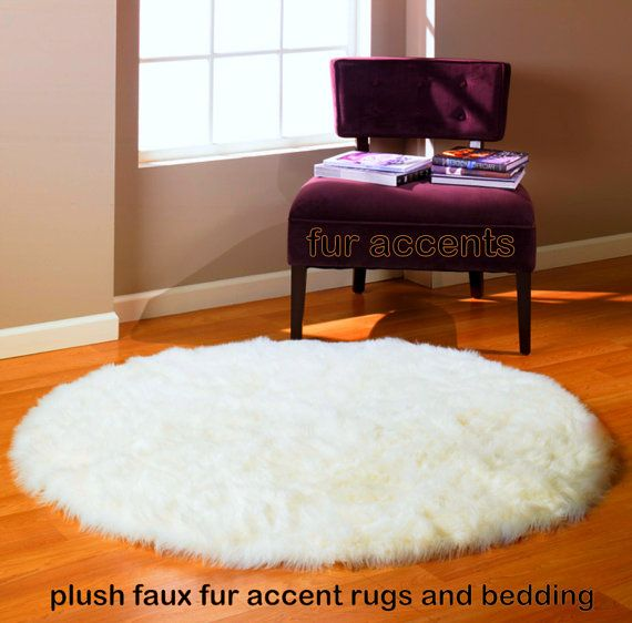 5 Foot Diameter Round Area Rug True White Faux Fur By Furaccents 119 00