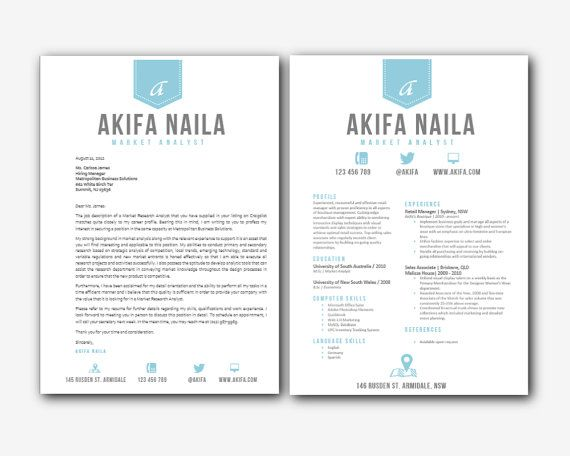 blue ribbon banner iconic microsoft word 1 and 2 pages printable resume and matching cover letter - Resume Cover Letter Template Microsoft Word