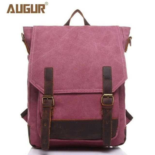 85ba675061 AUGUR Brand New Fashion School Bags For Teenagers Leisure Canvas Crazy  Horse Backpacks Girls Backpack Men