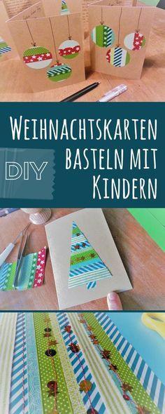 So einfach wie effektvoll! Bastel mit Deinen Kindern Weihnachtskarten aus Maskingtape und Stoffbändern. #weihnachtsdekobastelnmitkindern