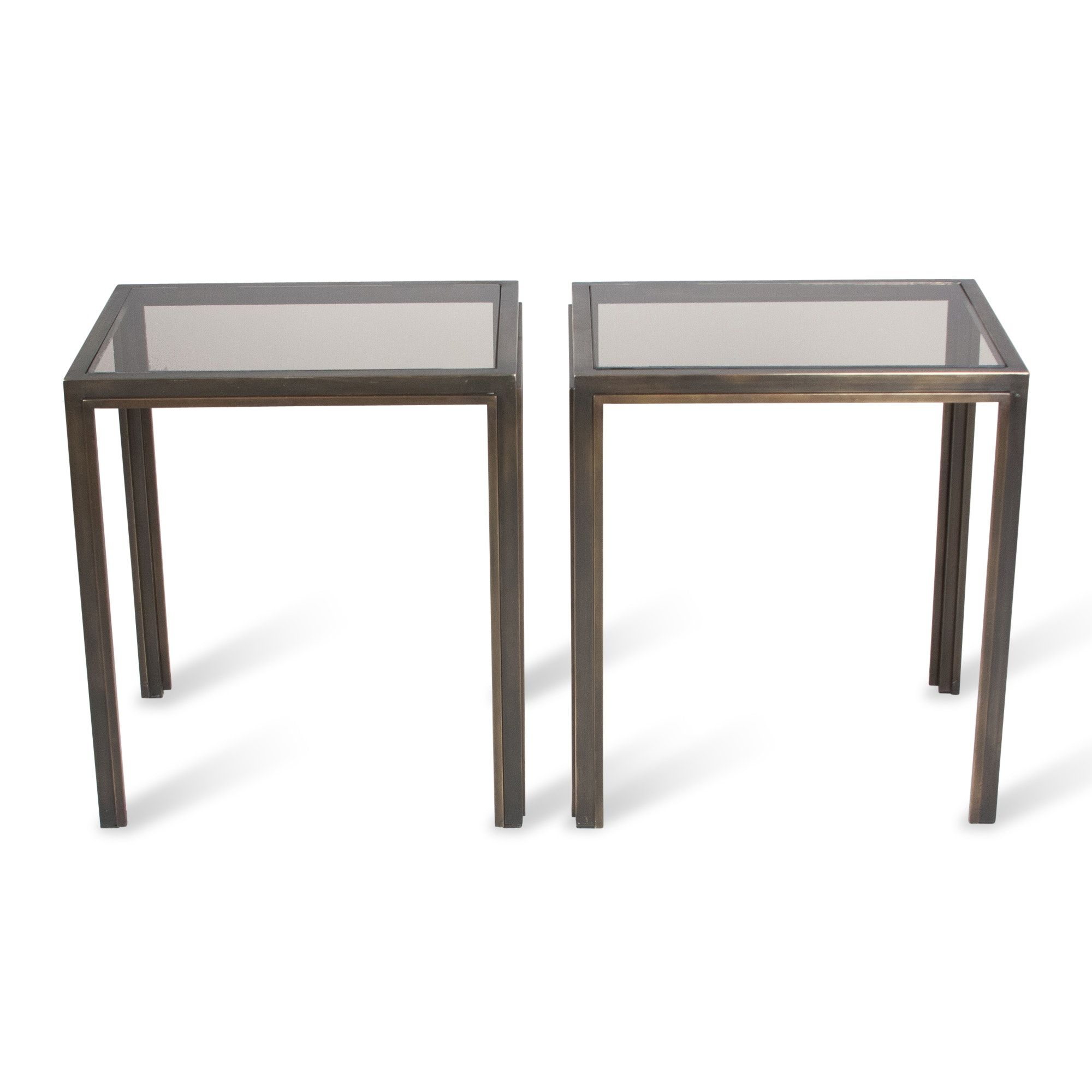 Pair of Bronze Frame Side Tables French 1970s