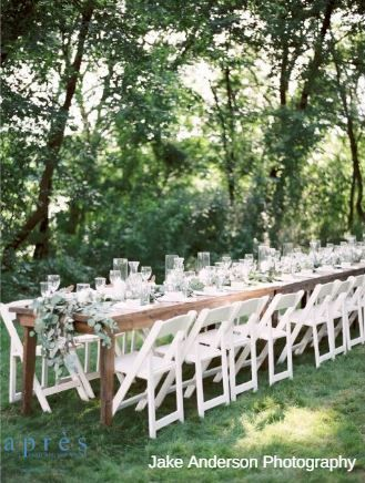 Apres Party And Tent Rental Farm Table And White Wood Folding