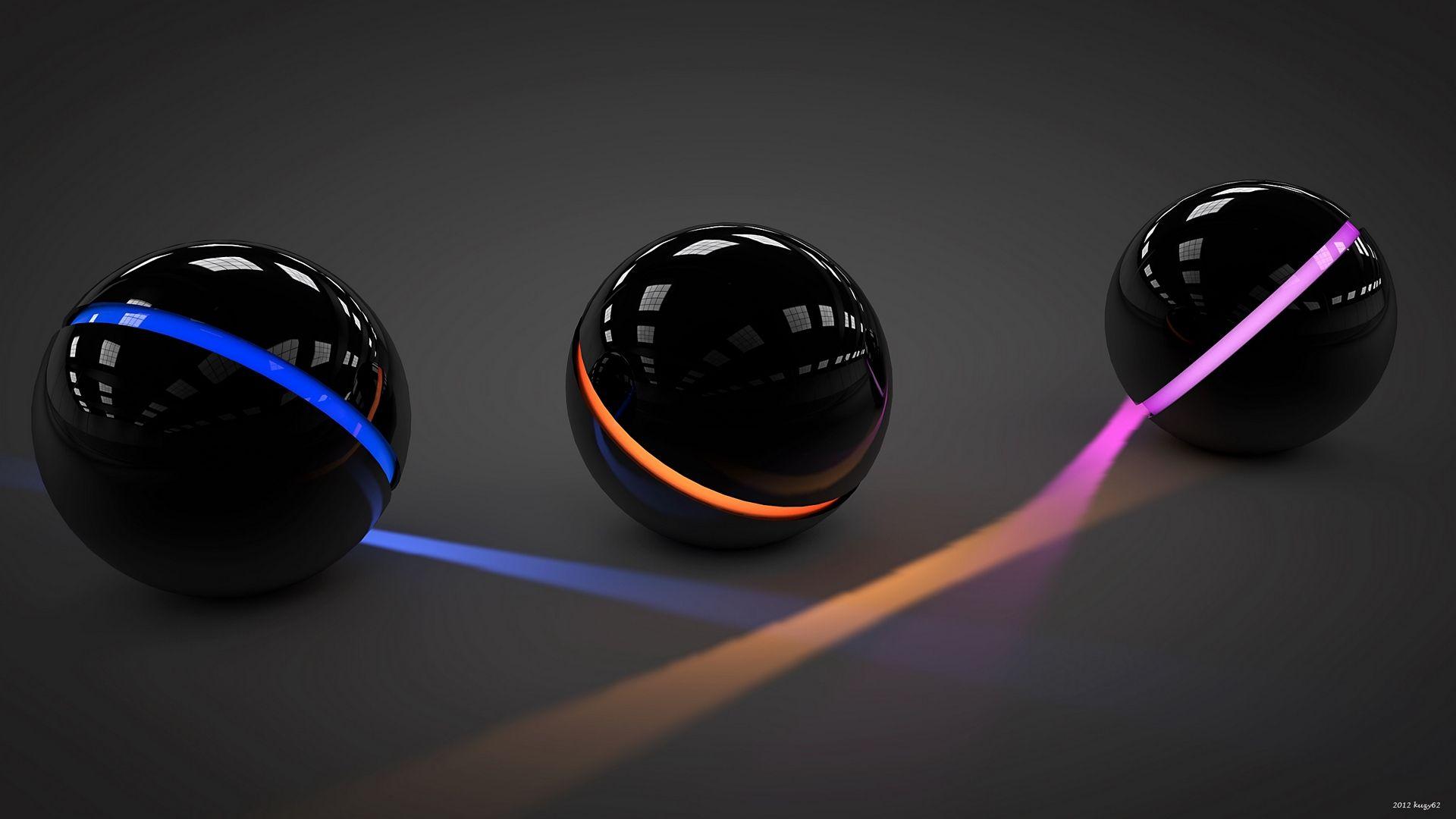 1920x1080 Wallpaper Balls Light Glass Neon Hd Desktop Ball