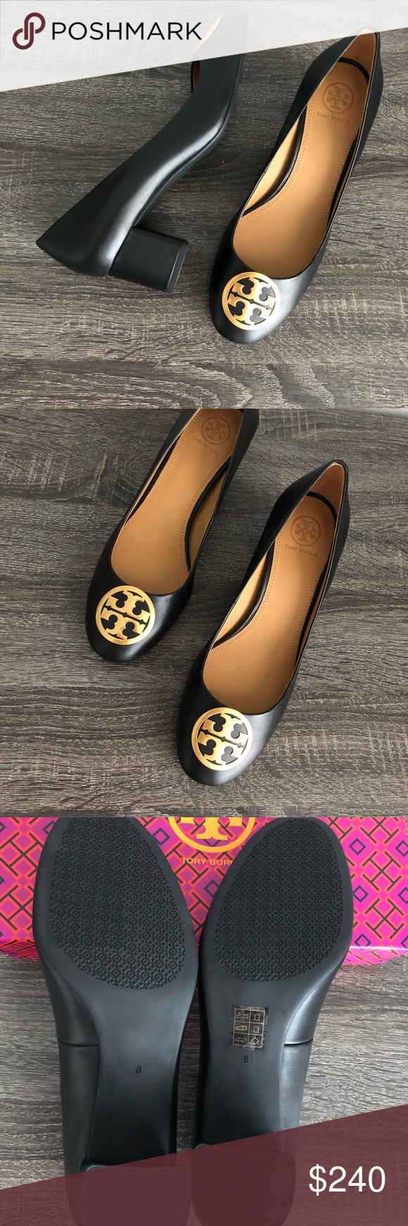 142c3ea37ad453 Tory Burch Benton Pump Black Nappa leather with gold tone logo 50mm pump  -heel about 1.75