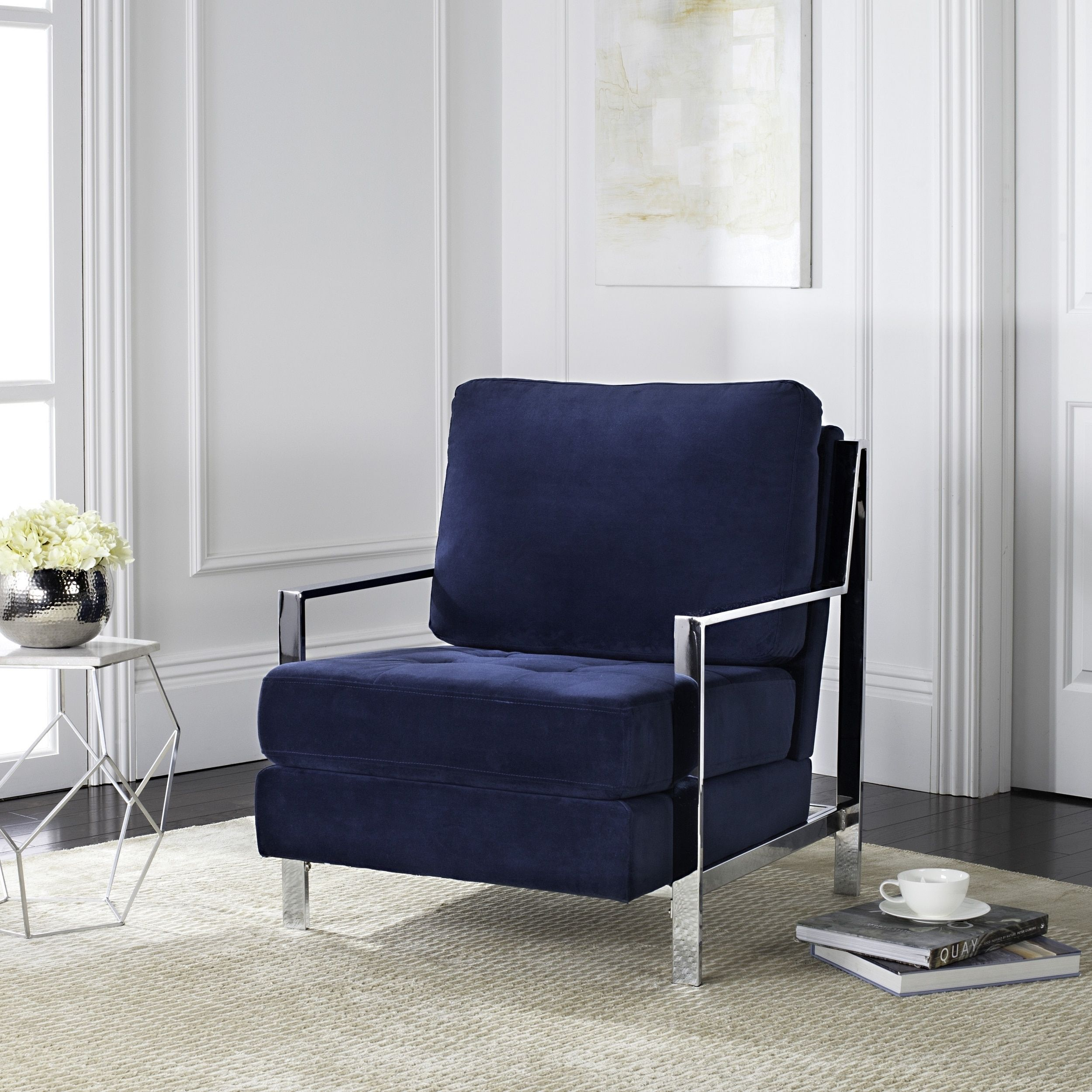 Safavieh Modern Walden Tufted Blue Velvet Accent Chair Fabric