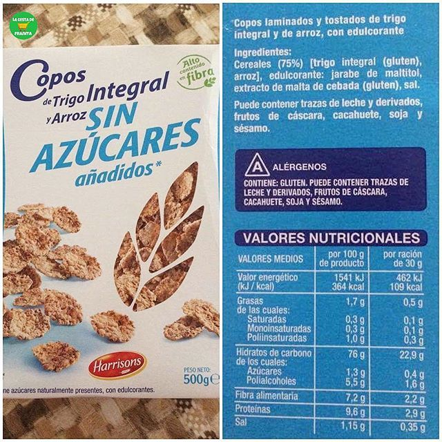 Copos De Trigo Integral Y Arroz Sin Azucares Anadidos