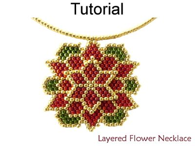 Beaded Layered Poinsettia / Dahlia Flower Necklace Beading Pattern Tutorial