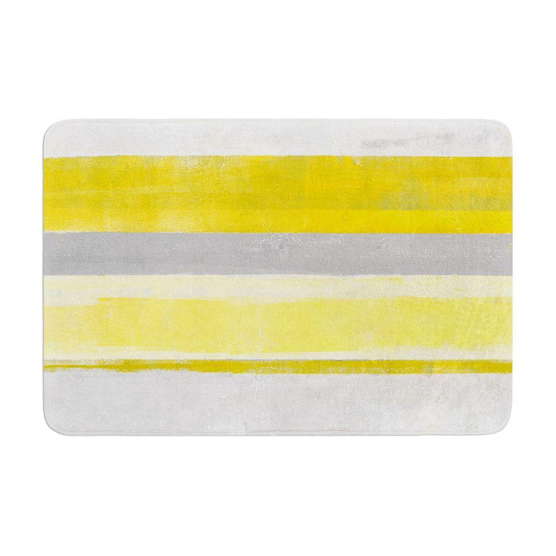 Carollynn Tice Lemon Yellow Gray Memory Foam Bath Mat