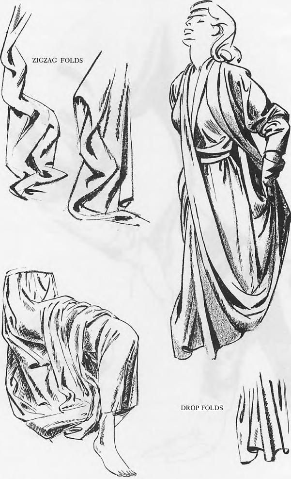 Drawing Clothing Folds & Drapery Wrinkles with Folding and Shadows of the Rolls Drawing Tutorials for Cartoons & Illustrations