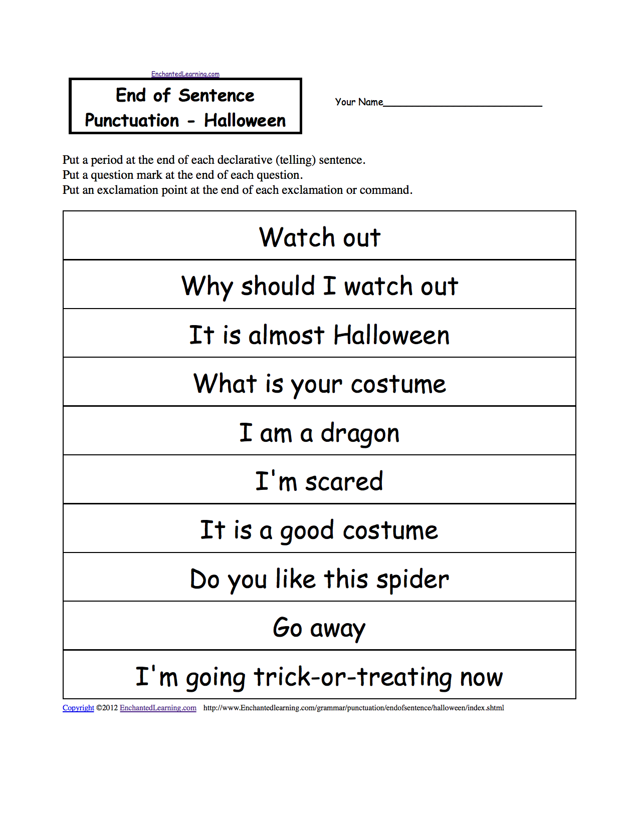 English Worksheet For Grade 2 Punctuation