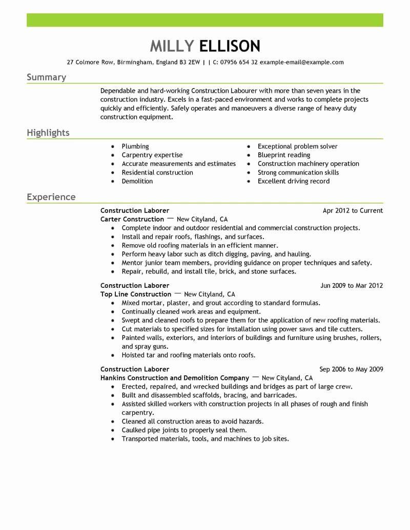 General Construction Worker Resume Beautiful Best Construction Labor Resume Example Resume Examples Job Resume Samples Resume