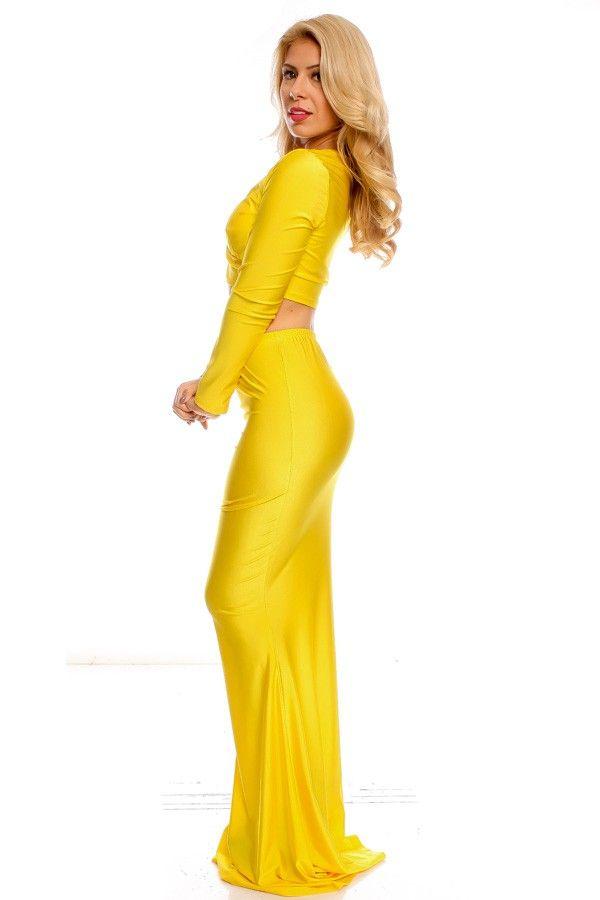 Yellow Sexy Maxi Dress
