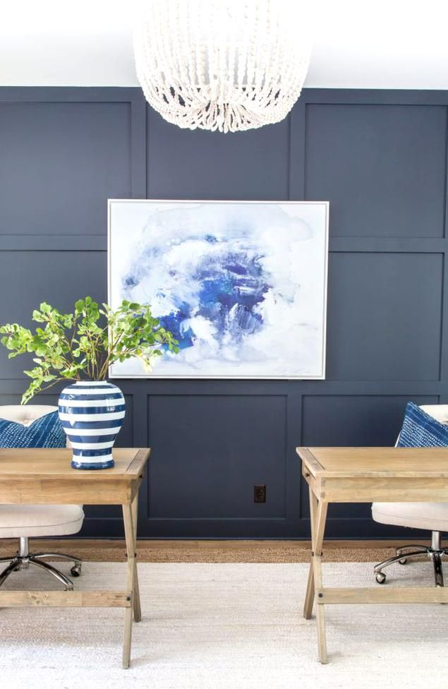 a home office with a navy blue board and batten accent on office accent wall color id=77049