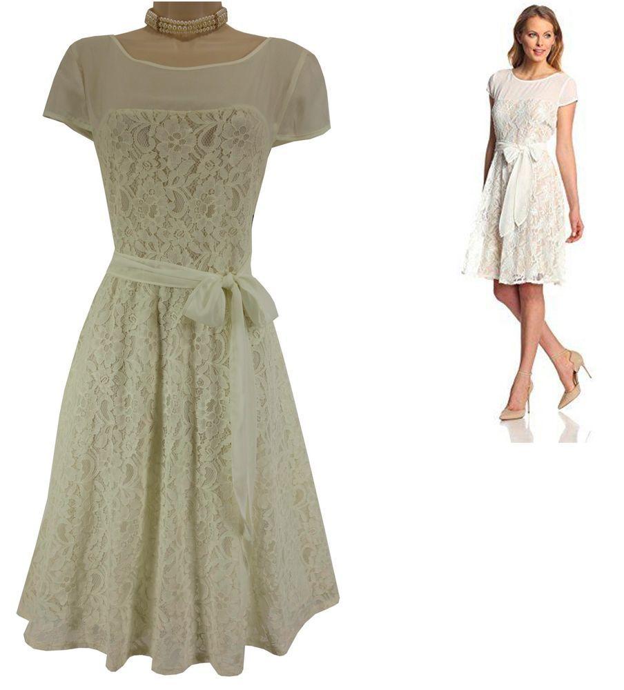 16 XL 1X NWT Pretty CREME LACE DRESS W TIE Wedding Summer Easter