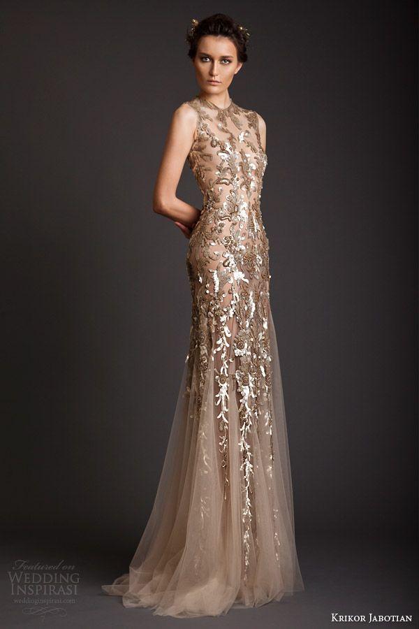 192e42d0296f7 krikor jabotian spring summer 2014 couture sleeveless gold embellished  sheath dress
