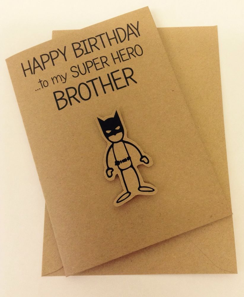 Cute Hand Made Batman Inspired Super Hero Brother Birthday Card