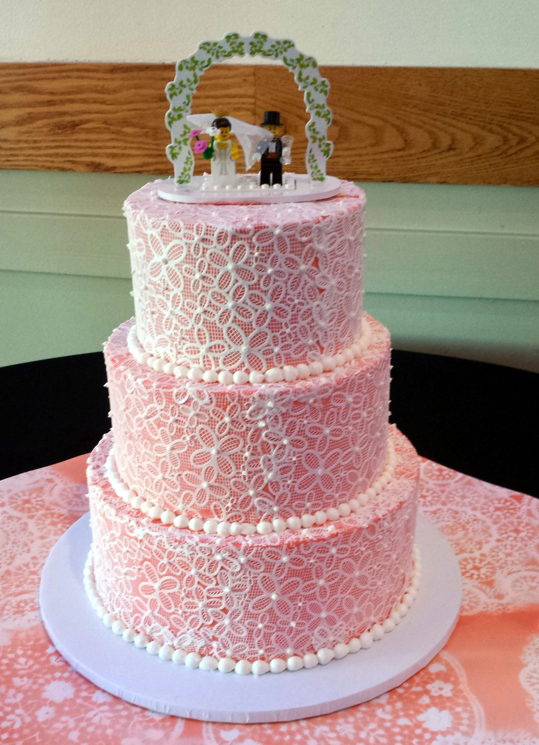 Gluten Free Coral Buttercream Wedding Cake with Sugarveil Lace