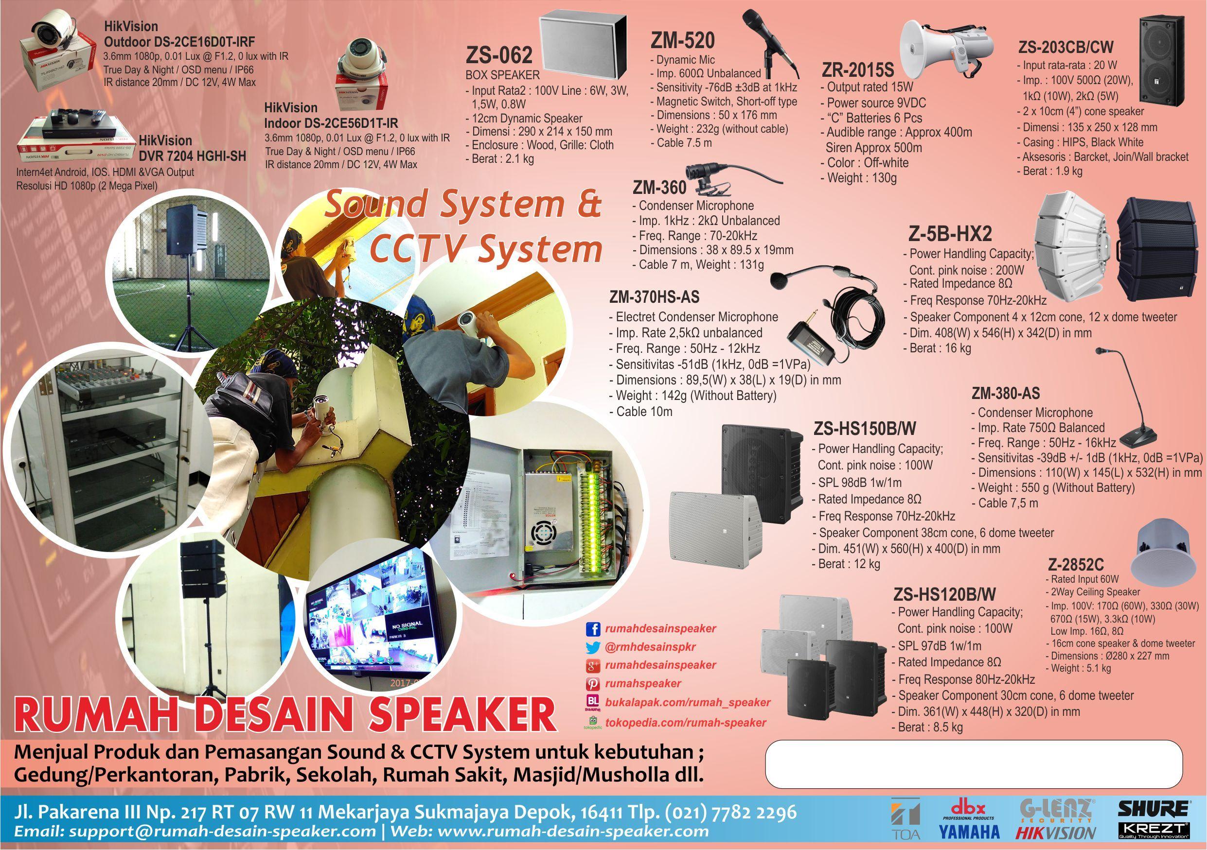 RUMAH DESAIN SPEAKER Menjual produk dan pemasangan CCTV Sound system merk TOA untuk kebutuhan Masjid