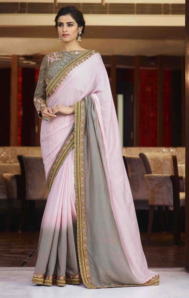 20c7b8bca236af Pink and Grey Colour Silk Saree With Heavy Work Designer Blouse ...
