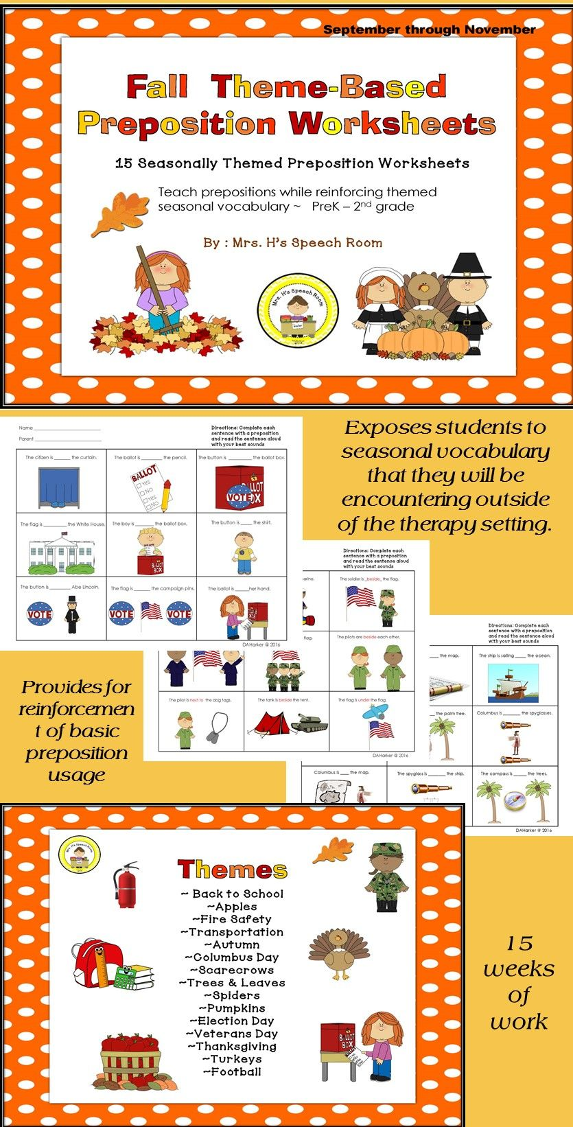 Speech Therapy Prepositions For Autumn Speech Therapy Activities