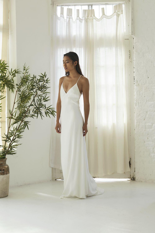 Anais Silk Wedding Dress Simple Slip Wedding Dress Fitted Wedding Dress [ 1500 x 1000 Pixel ]