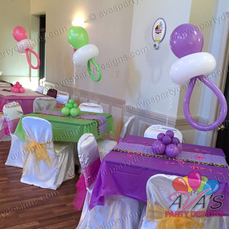 Baby pacifier balloon centerpieces partywithballoons
