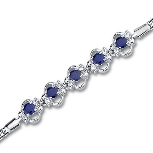 Created Sapphire Bracelet Sterling Silver Rhodium Nickel Finish CZ Accent 5 Stone Design available at joyfulcrown.com