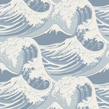 Papier Peint Mer Et Marin Bleu Great Wave Cole And Son Au Fil Des Couleurs Idees De Papier Peint Papier Peint Papier Peint Motif