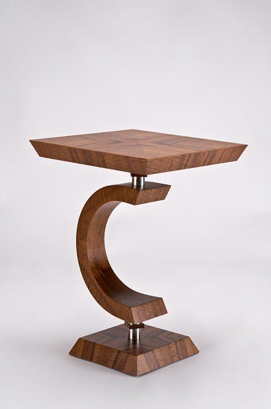 Square C side table sunburst in claro walnut by Enrico Konig of
