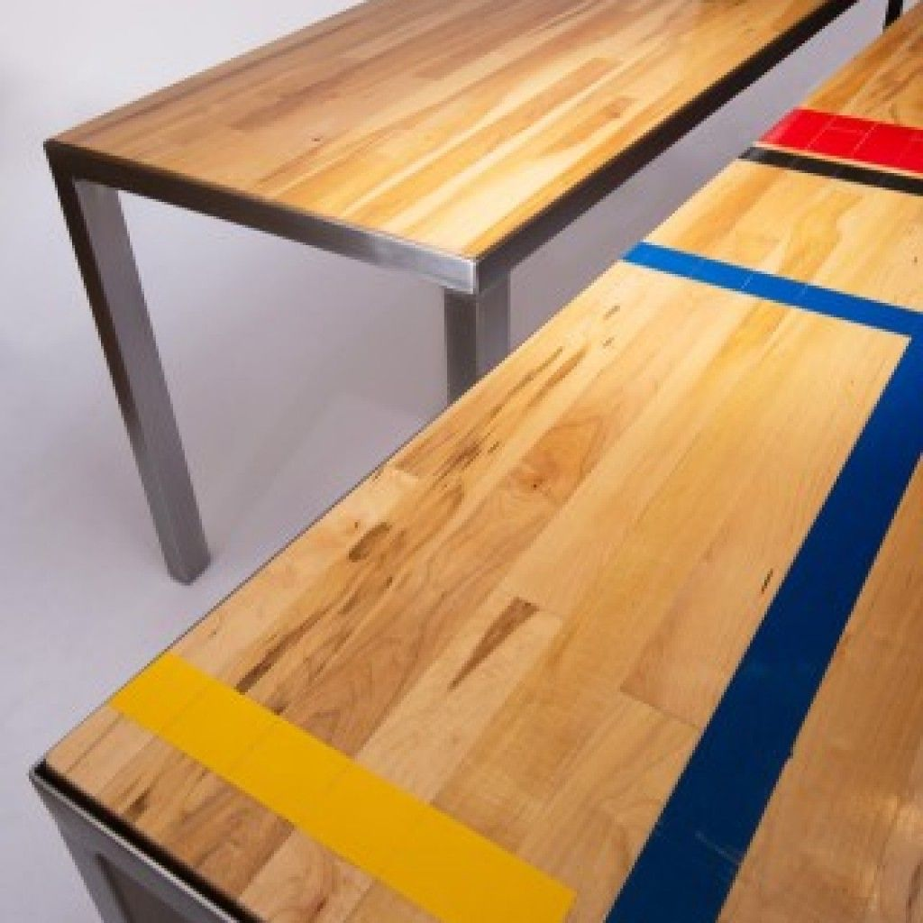 Each of our reclaimed gym floor tables and benches feature original paint  from the school gymnasiums where they were salvaged.