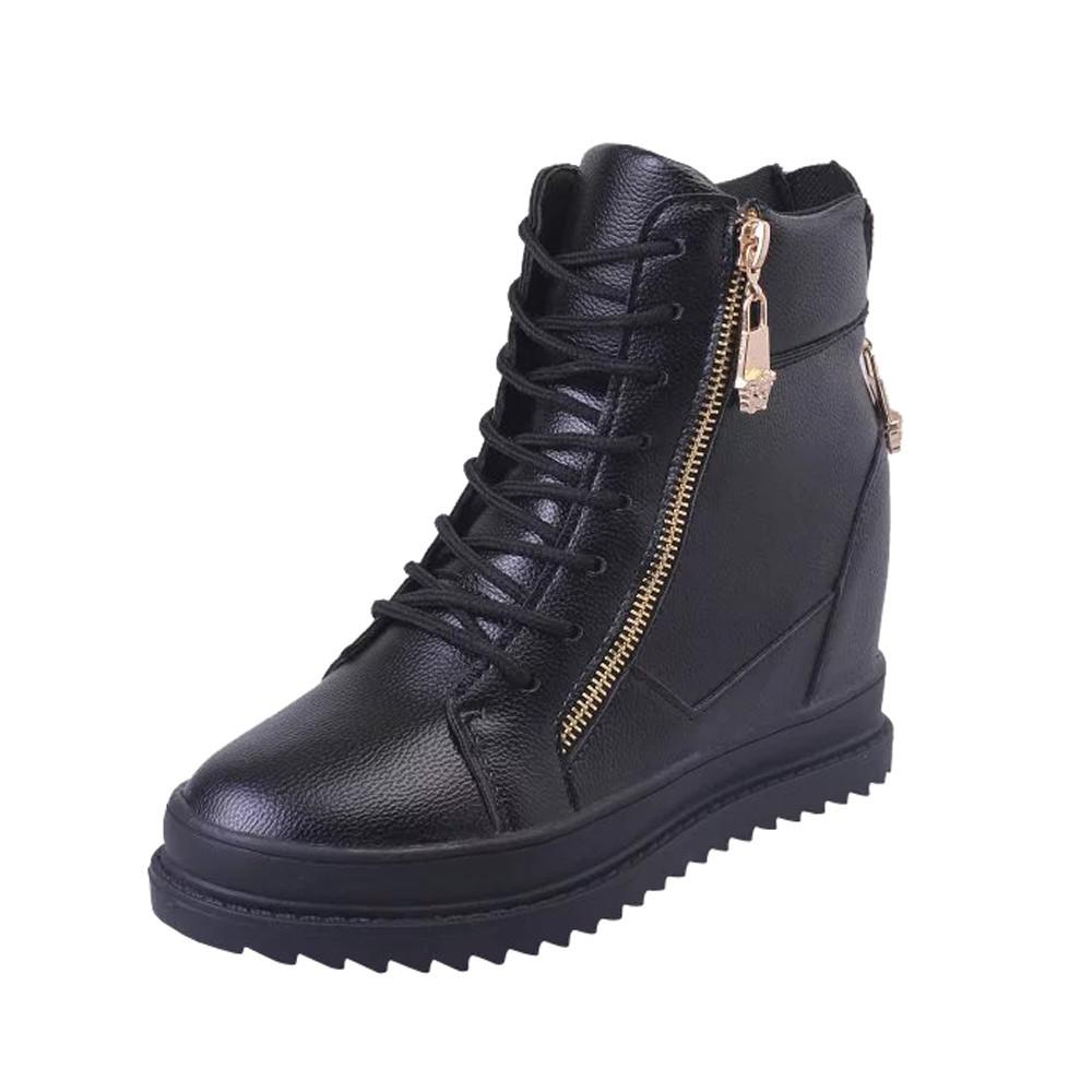 High-Top Zipper Sneakers Lace Up Shoes Flat Leather Women ...