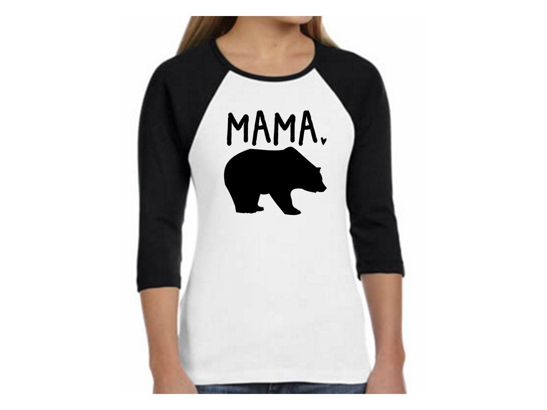 Mama Bear Baby Bear Pink Raglan Shirt Set hGOojc