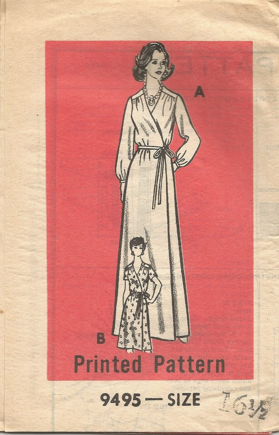 Vintage Mail Order Tissue Front Wrap Dress Robe Pattern 9495 circa 1970's size 16 1/2 Bust 39 by EvaStAlbans on Etsy