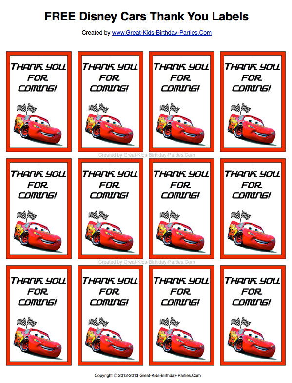 best service 16049 f043a Free Disney Cars Thank You Labels. Print them on sticker paper or card  stock for your party favors.
