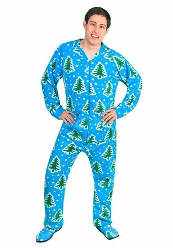 39682f4007 Buy Adult Footed Pajamas with Butt Flap Christmas Trees and Snow