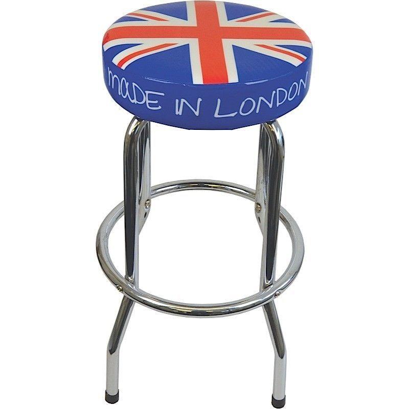 New Union Jack Bar Stool Kitchen Retro Breakfast British Flag Steel Uk Chrome Union Jack Stool Retro