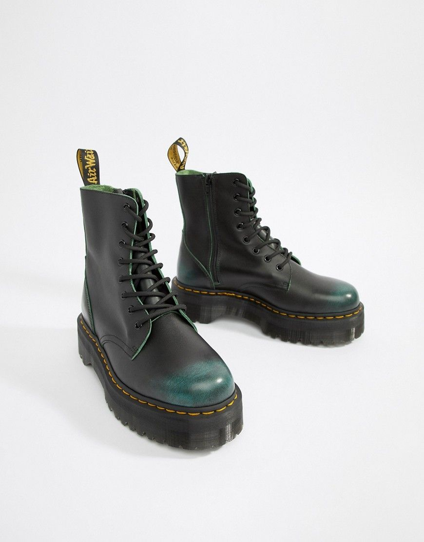 3a60686744c0cc DR. MARTENS JADON 8-EYE ZIP BOOTS IN GREEN - GREEN.  dr.martens  shoes