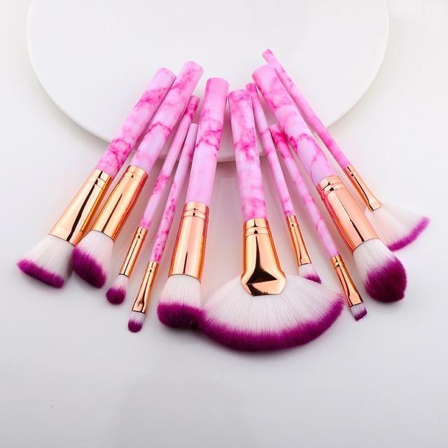 Marmor Design Makeup Pinsel Sets 5 Stück, 10 Stück, 15 Stück – Sektor 10 Stück Rose