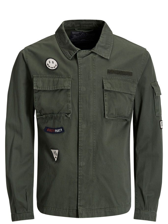 Military green field jacket, cotton, with patch details