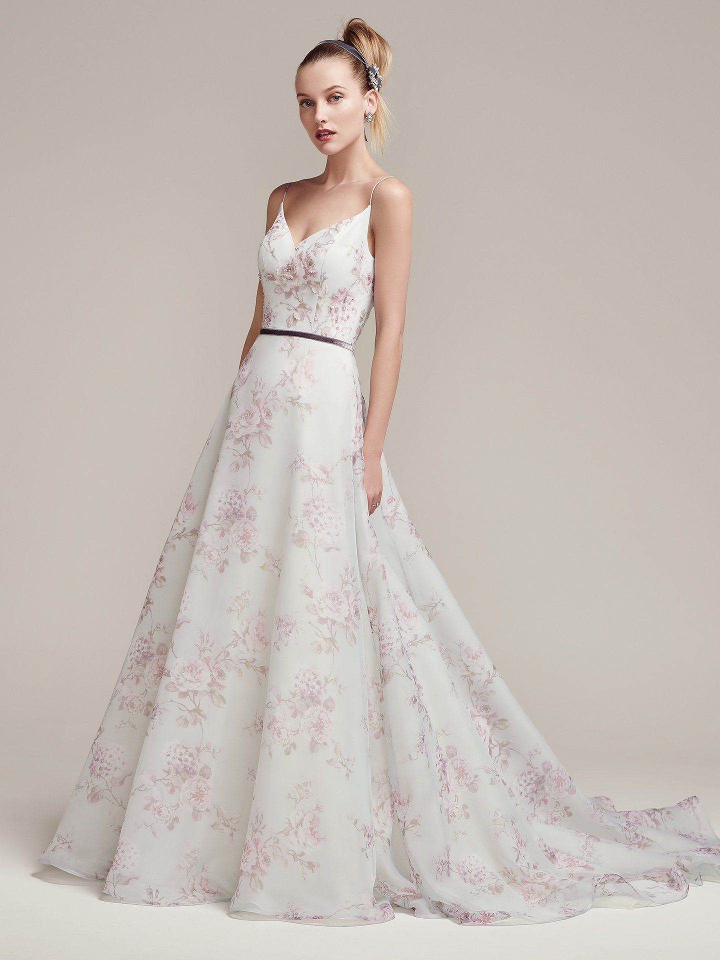 ede3de447560 Kira by #SotteroandMidgley | Floral printed chiffon full A-line wedding  dress, with ultra-feminine spaghetti straps and V-neckline and plunging  back.