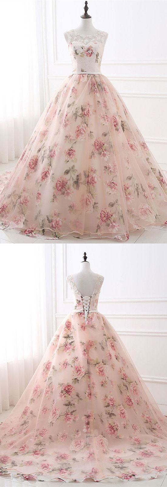 Romantic Pink Floral Long Ball Gown from dreamdressy | Pinterest ...