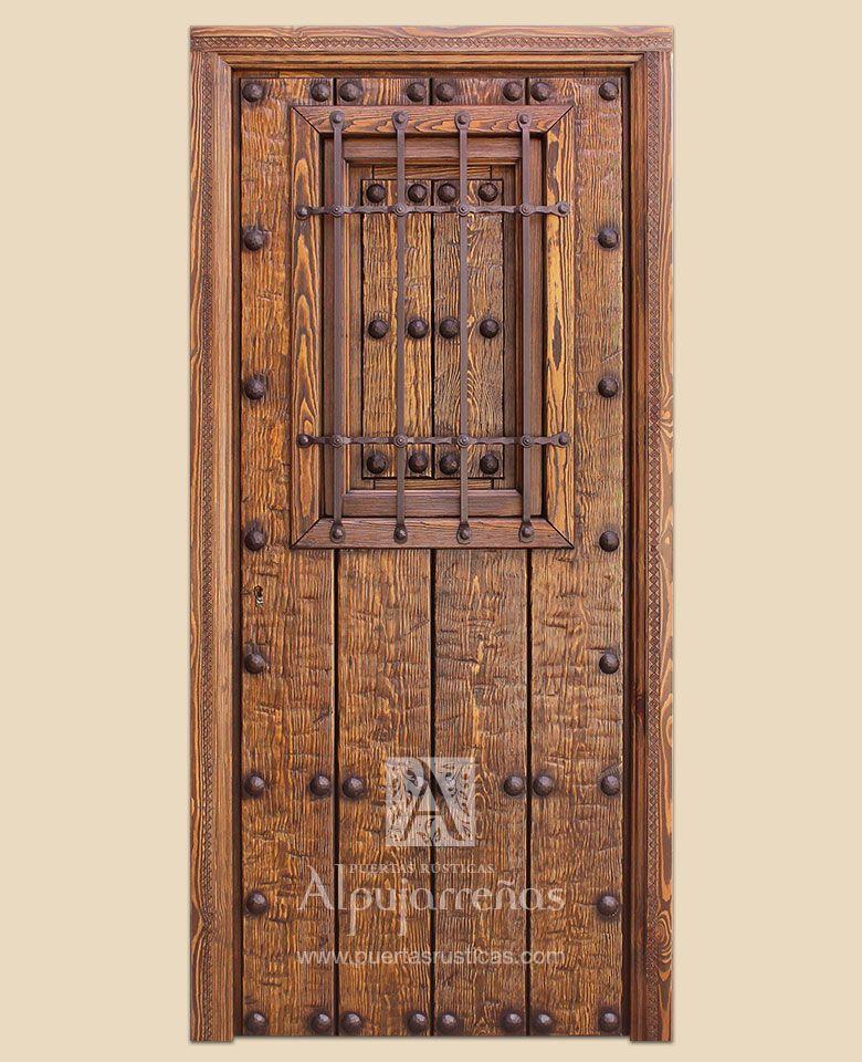 Puertas de exterior serie i gama alcudiar puertas for Puertas de madera con herreria