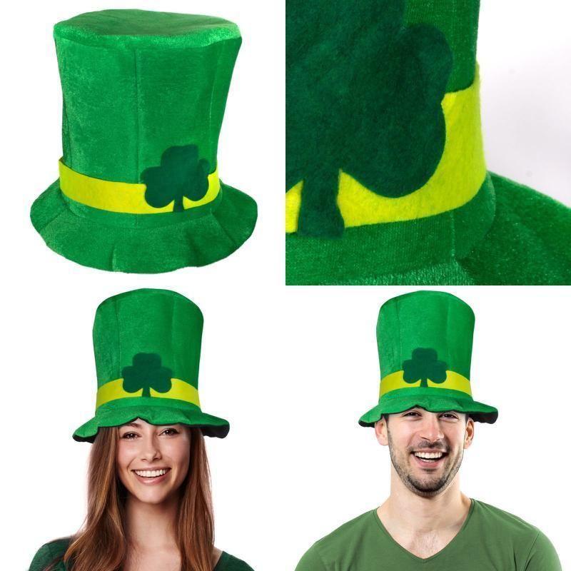 e890b485d5af3 St. Patricks Day Costume Accessories Shamrock Green Velvet Top Hat Men   amp  Women
