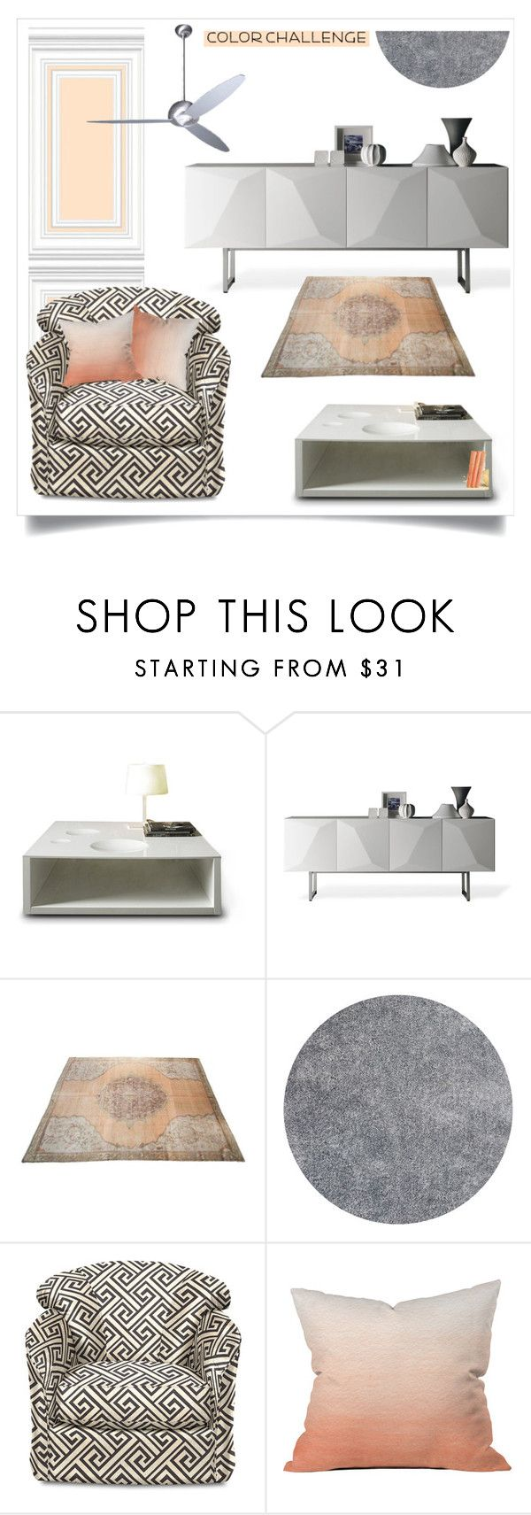 """""""Color Challenge: Gray & Peach"""" by slavicabojanovic ❤ liked on Polyvore featuring interior, interiors, interior design, home, home decor, interior decorating, Linfa Design, Dot & Bo, Modern Fan Company and colorchallenge"""