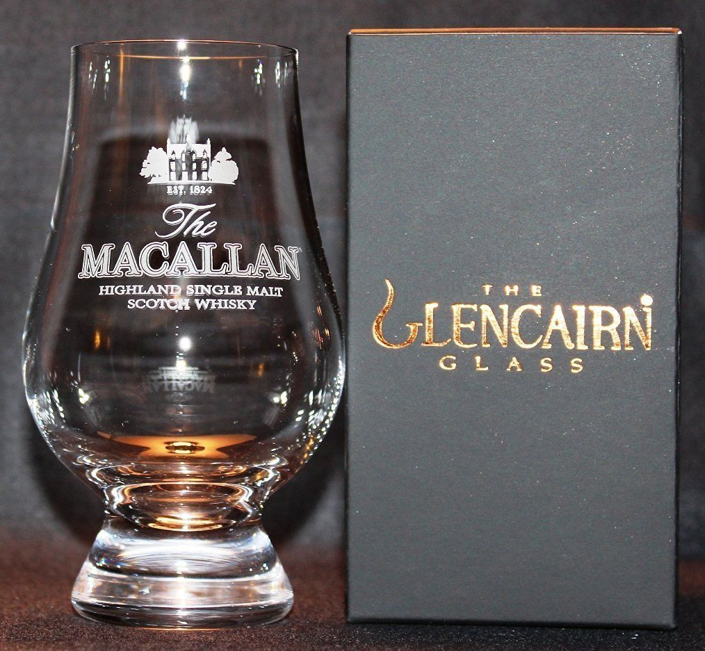 MACALLAN TWO GLASS GLENCAIRN BLACK AND GOLD PRESENTATION BOX