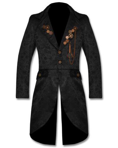 Victorian Brocade Box Coat Vintage Goth Steampunk Pelerine Black Halloween